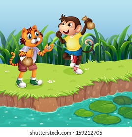 Illustration of a monkey and a tiger playing