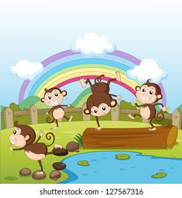Illustration of monkeys and a rainbow in a beautiful nature