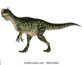 Illustration of a Monolophosaurus (dinosaur species) isolated on a white background