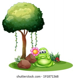 Illustration of a monster holding a flower standing near the tree on a white background