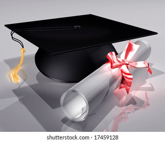 Illustration of a mortar board and diploma tied with a ribbon