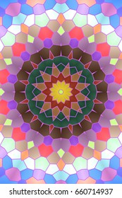 Illustration of mosaic images, an abstract pattern kaleidoscope, the finishes of the floors and walls of mosaic materials, decorative fantasy,