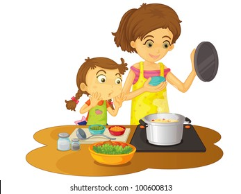 Illustration of mother cooking with daughter - EPS VECTOR format also available in my portfolio.