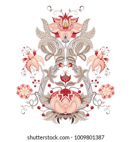 Illustration with motives of the paintings of vintage Indian fabrics. Flower with leaves, tendrils and berries. Tree of Life collection.