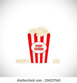 Illustration of movie popcorn illustration isolated on a white background.