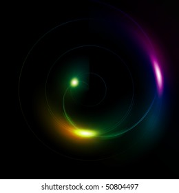 Illustration of a multi color sphere on a black background