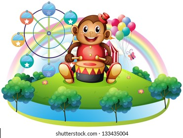 Illustration of a musical monkey near the ferris wheel on a white background