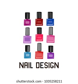 Illustration with nail polish. Advertising, banner, flyer.