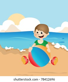 Illustration of naive design with cartoon kid on beach playing with a ball