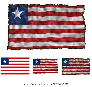 Illustration of national color of Liberia in three different styles
