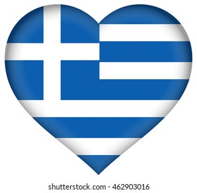 Illustration of the national flag of Greece shaped like a heart