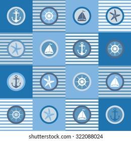 Illustration of nautical themed design elements set./Nautical Elements