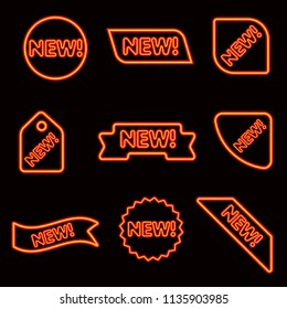 illustration of neon glowing advertising web banners for new products