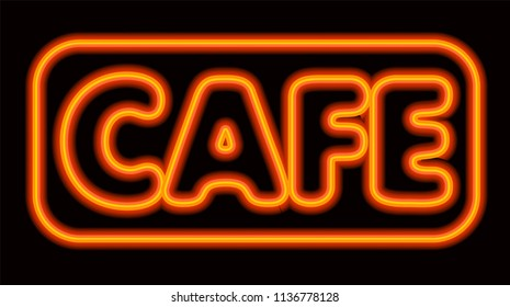 illustration of neon glowing cafe signboard