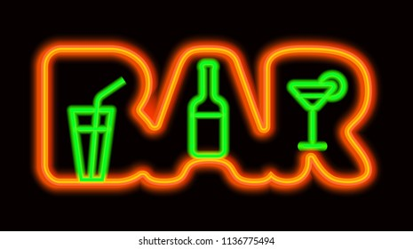 illustration of neon signboard for alcohol bar