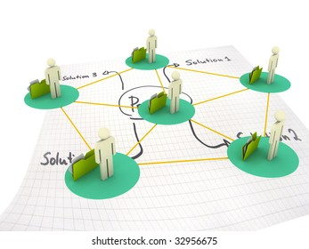 illustration of network solution