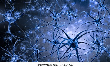 Illustration of neuron cells with shining impulses on dark space in various colours. 4K 3D illustration