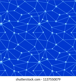 illustration of neurons web seamless pattern with blue background