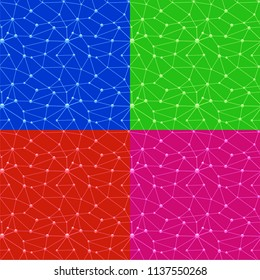 illustration of neurons web seamless patterns in different colors