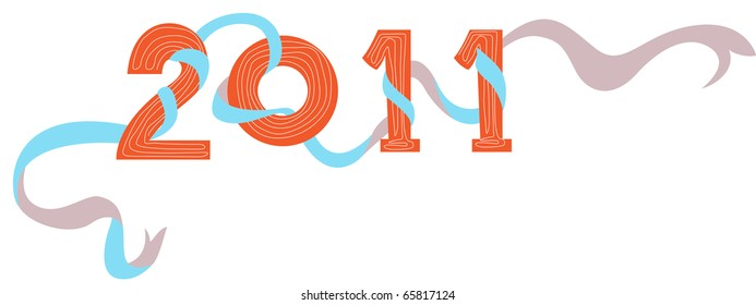 illustration of new year 2011 on a white background
