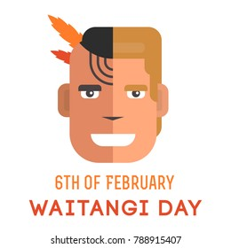 illustration of New Zealand symbols with lettering that concerns Waitangi day on the 6th of February.