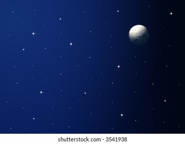 Illustration of a night sky with realistic moon.