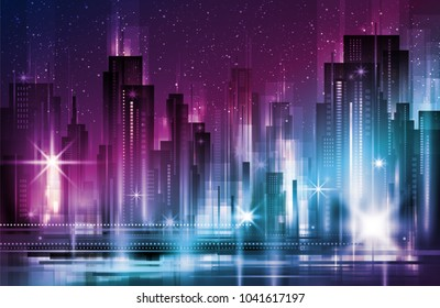 illustration of night urban city landscape. Big modern city with skyscrapers in night time with lights