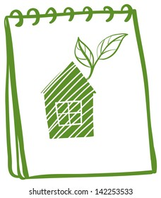 Illustration of a notebook with a drawing of a house with leaves on a white background