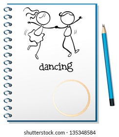 Illustration of a notebook with a sketch of a girl and a boy dancing on a white background