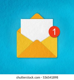 illustration of notification about a new message in papercut technique