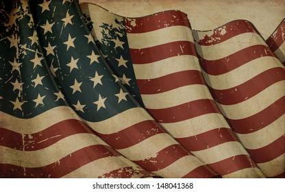 Illustration ofan aged, waving  US 48 star flag of the period 1912-1959 printed in old paper. This design was used by the US in both World Wars and the Korean war.