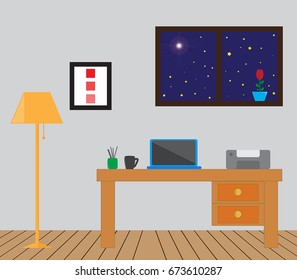Illustration of an office with a desk, laptop and other items.