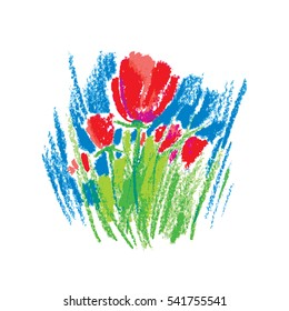 Illustration oil pastel childlike stylized red flowers on the white background. Colorful floral drawing in sketch style. Hand drawn art element for summer design and simple decor.