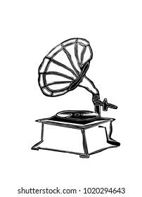 illustration of a old antik gramophone