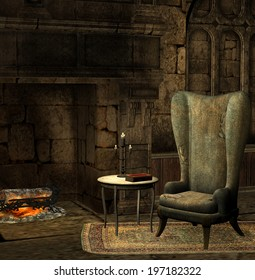 illustration of an old fireplace with armchair