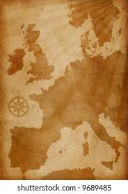 illustration of old grunge textured Europe map