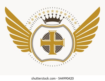 illustration of old style heraldic emblem decorated with eagle wings and made with religious cross and monarch crown