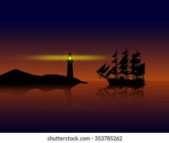 Illustration of a old tall ship near a lighthouse on the coast.