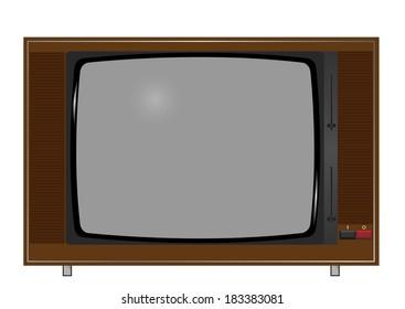Illustration of old TV on the white background. Raster illustration.