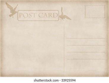 illustration of old vintage blank postcard with seagulls