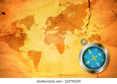 illustration old world map with compass