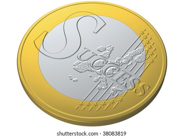 illustration of one euro coin with the word success
