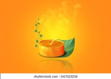 Illustration of an orange candle photomanipulation