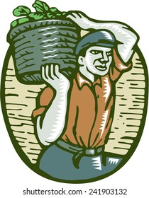 Illustration of an organic farmer carrying basket of harvest crop of vegetables on shoulder done in retro woodcut linocut style.