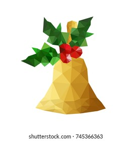 Illustration of origami bell with holly leaves