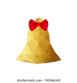 Illustration of origami bell with red ribbon
