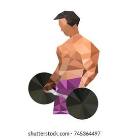 Illustration of origami bodybuilding man