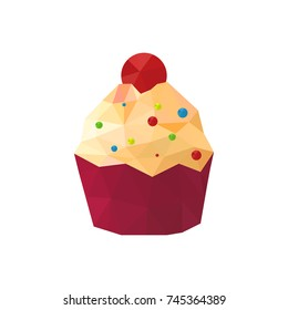 Illustration of origami cupcake with sprinkles