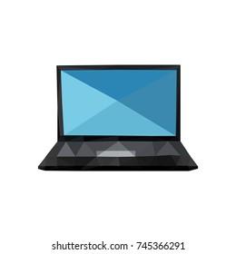 Illustration of origami laptop isolated on white background