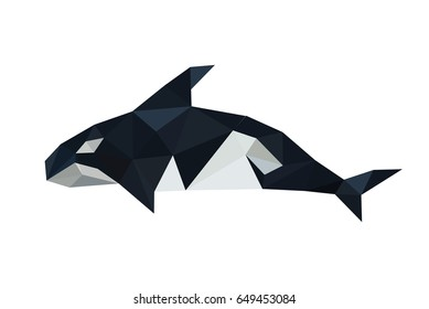 Illustration of origami orca dolphin isolated on white backgroung